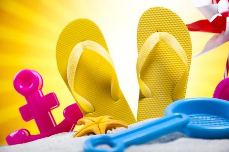 Summer Beach Background, Flip flops photo