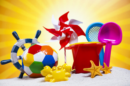 Collection of beach toys accessories photo