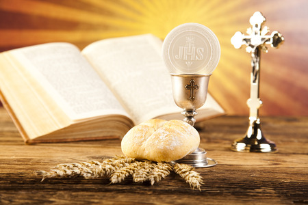 catholic mass: Eucharist, sacrament of communion Stock Photo