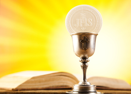 communion wafer: Eucharist, sacrament of communion Stock Photo