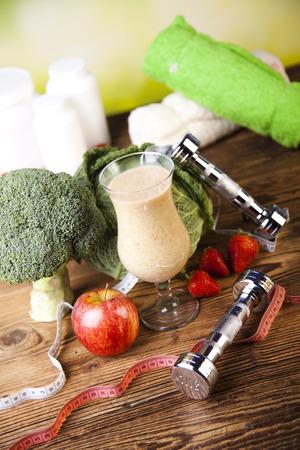alimentos y bebidas: Vitaminas y Gimnasio dieta, mancuerna