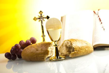 catholic mass: Eucharist, sacrament of communion Stock Photo