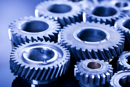Closeup of gears, industrial mechanism photo