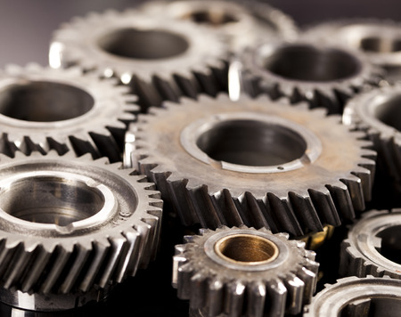 Gears meshing together Stock Photo