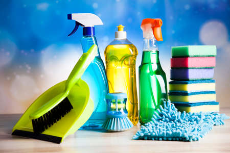 cleaning background: Cleaning products, home work colorful theme