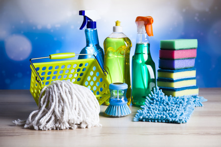 work from home: Cleaning, home work colorful theme