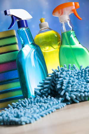 cleaning products: Cleaning Equipment, home work colorful theme Stock Photo