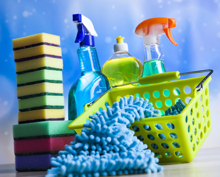 work from home: Cleaning products, home work colorful theme