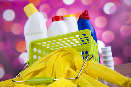work from home: Variety of cleaning products, home work colorful theme