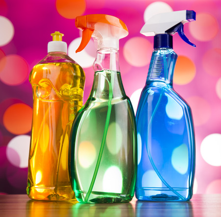 work from home: Group of assorted cleaning, home work colorful theme Stock Photo