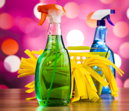 work from home: Set of cleaning products, home work colorful theme