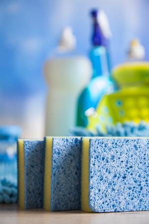 servicio domestico: Limpieza, trabajo a domicilio colorido tema Foto de archivo