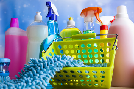 cleaning background: Cleaning Equipment, home work colorful theme Stock Photo