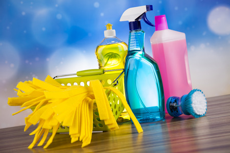 work from home: Cleaning Equipment, home work colorful theme Stock Photo