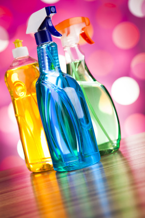 cleaning products: Assorted cleaning products, home work colorful theme