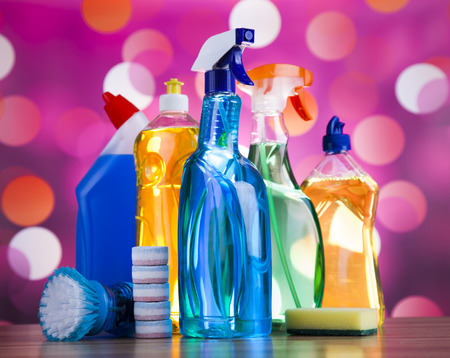 work from home: Assorted cleaning products, home work colorful theme