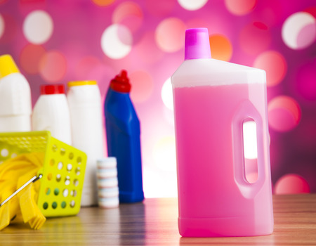 scouring: Assorted cleaning products, home work colorful theme