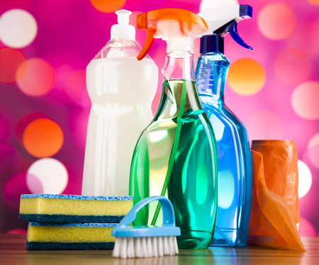work from home: Cleaning supplies,home work colorful theme Stock Photo