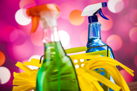 work from home: Variety of cleaning products,home work