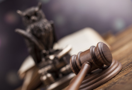 magistrate: Law theme, mallet of judge, wooden gavel