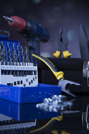 shrewd: Construction tools, house renovation concept Stock Photo
