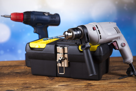 power tools: Working tools on wooden background Stock Photo