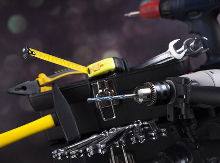tool chuck: Construction tools, house renovation concept Stock Photo