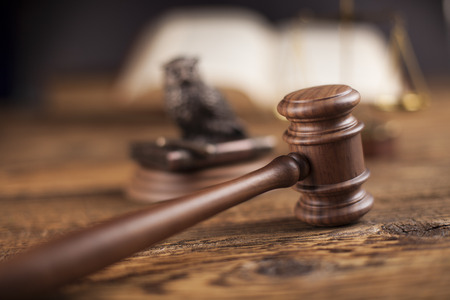 legality: Law theme, mallet of judge, wooden gavel