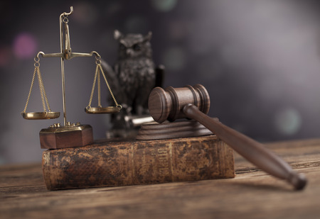 magistrate: Wooden gavel barrister, justice concept, legal system