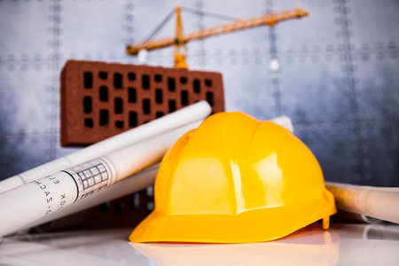 construction industry: Buildings under construction and cranes