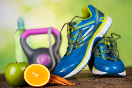 estilo de vida saludable: Concepto de estilo de vida saludable, la composición de vitaminas Foto de archivo
