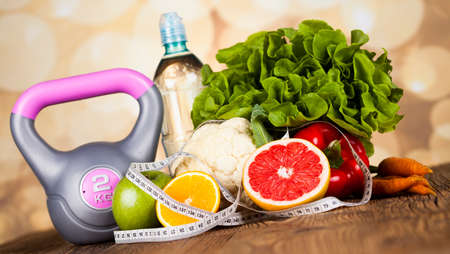 lose weight: Healthy lifestyle concept, vitamins composition