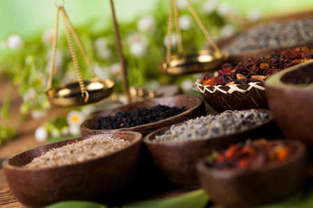 medical herbs: Assorted natural medical, herbs and mortar