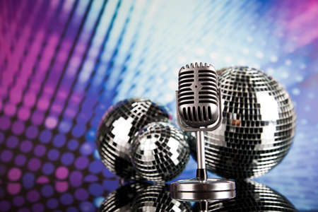music background: Retro microphone and Music background
