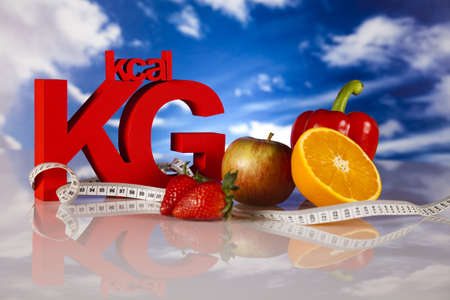 kilos: Food and measure tape , fitness Stock Photo