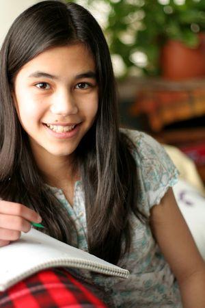 scandinavian girl: Teen girl studying