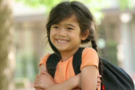 First Day of School for a girl going into first grade. Stock Photo - 1449260