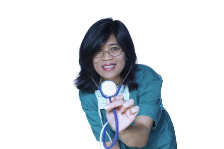 Kind nurse or doctor with stethoscope, ready to listen to heartbeat photo