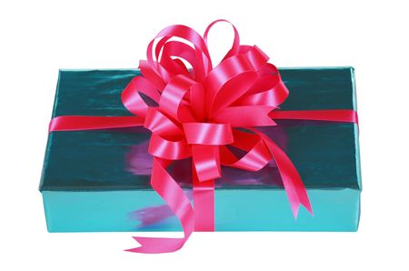 Sky blue present with pink bow and ribbons photo
