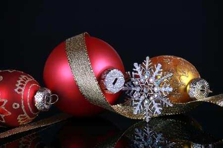 reflective: Christmas decorations on black reflective background