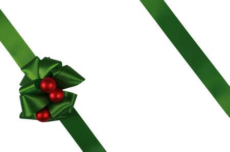 lazo regalo: Lazos Verdes de la superposici�n con caja de regalo Foto de archivo