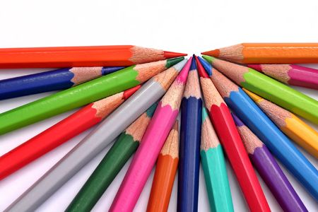 Colored pecnils in semicircle on white Stock Photo - 652388