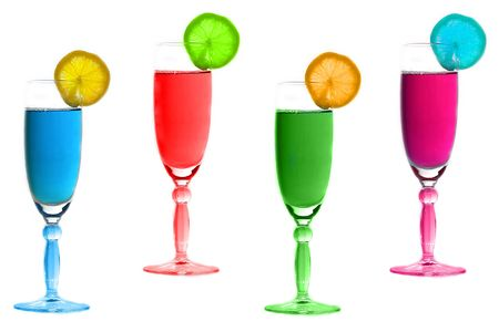 Multicolored glasses with fruit on them Stock Photo