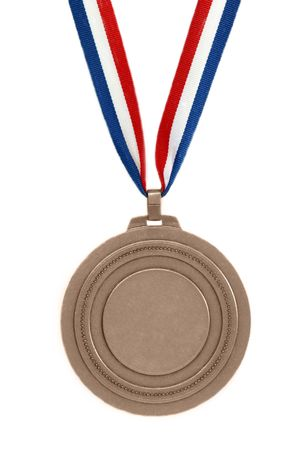 Bronze medal with ribbon isolated