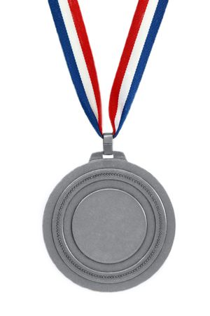 Silver medal with ribbon isolated