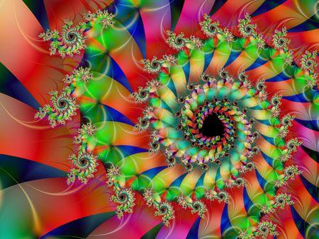 starshine: Spiral fractal full of colors Stock Photo