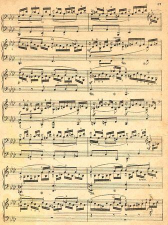 letras musicales: Old pedazo de papel con notas musicales