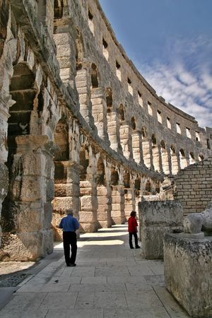 Inside of Arena in Pula, Croatia Stock Photo