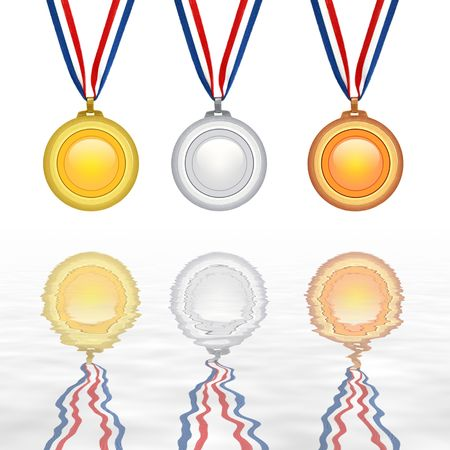 Set of medals isolated with reflection