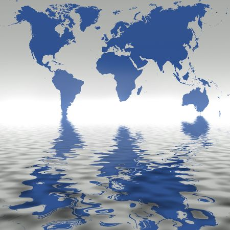 Map of the world with reflection